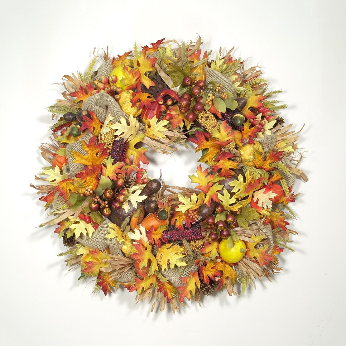 Autumn Harvest Burlap Wreath Wreaths Unlimited