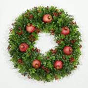 Classic Boxwood and Pomegranate Wreath