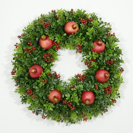 Classic Boxwood and Pomegranate Wreath