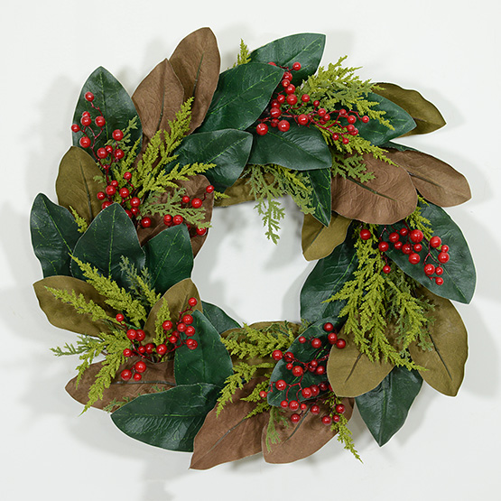 Holiday Magnolia Leaf Wreath