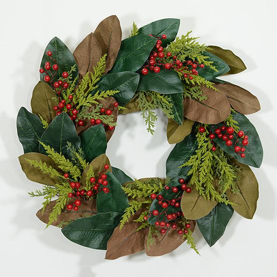 Holiday Magnolia Leaf Wreath