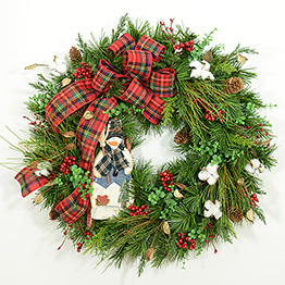 Sledding Snowman Wreath