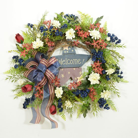 Patriotic Stars and Stripes Summer Wreath