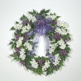 """Fresh-cut"" White Lilac Wreath in Lavender"