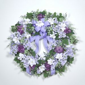 """Fresh-cut"" Lilacs and Tulips Wreath"