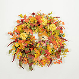 Scarecrow Greetings Autumn Wreath