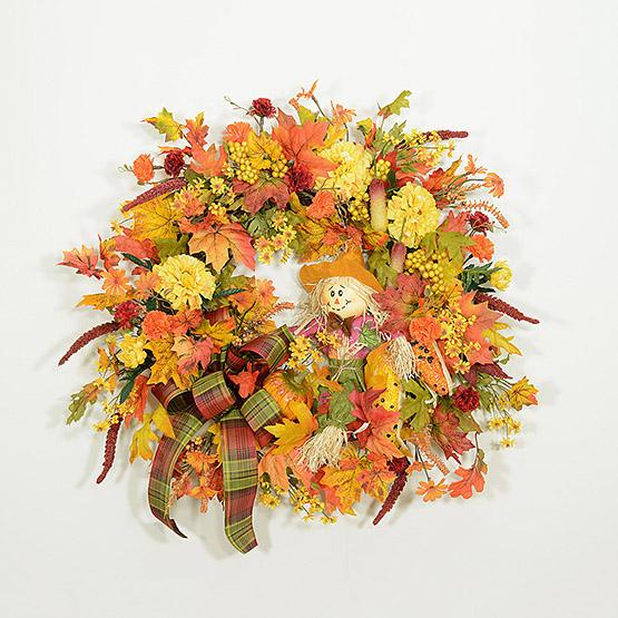 Scarecrow Greetings Autumn Wreath