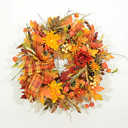 New England Autumn Harvest Wreath