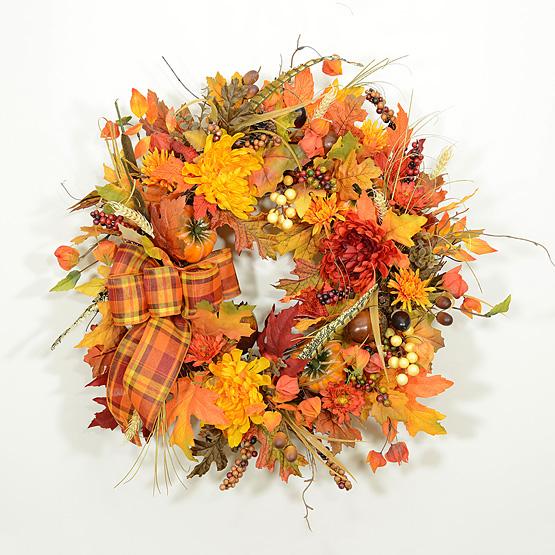 New England Autumn Harvest Wreath