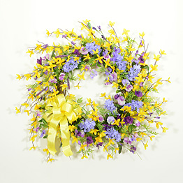 Lilacs and Forsythia Spring Wreath