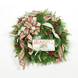 Traditional Seasons Greetings Christmas Wreath