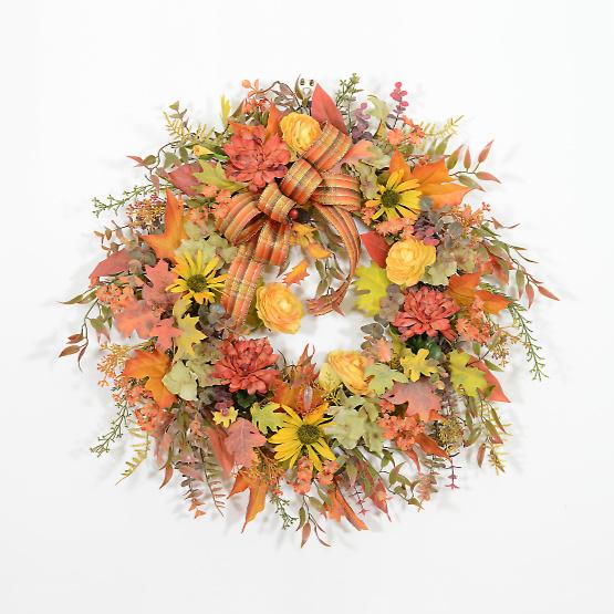 Fall Garden Flowers Autumn Wreath